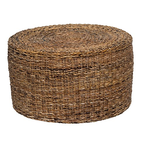Price comparison product image Transitional / Contemporary Eco-Friendly Ira Rattan Round Coffee Table in Brown Finish. Comes Assembled