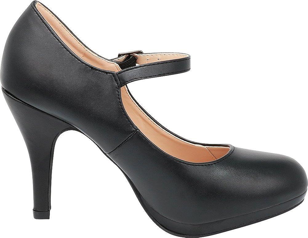 Cambridge Select Womens Mary Jane Closed Round Toe Buckled Strap Platform High Heel Pump
