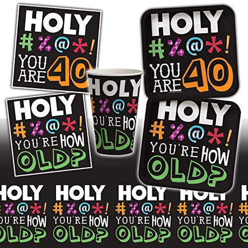 Holy BLEEP! You're How Old? 40th Birthday Party Pack for 16 Guests