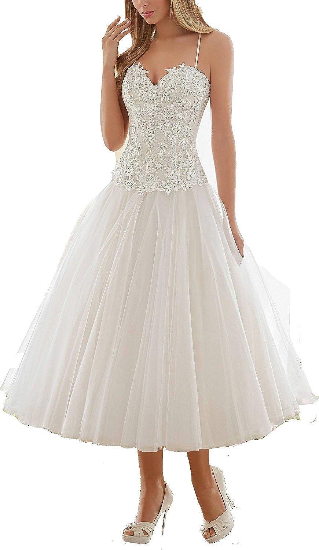 YASIOU Hochzeitskleid Kurz Weiß Standesamt Damen A Linie Tüll