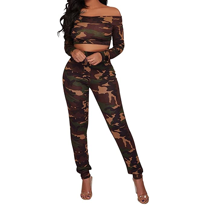 buy online a8fb8 063fc LaCouleur Women s Camouflage Camo Print Off Shoulder Long Sleeve Crop Top  and Pant 2PCS Outfits Set