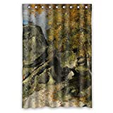 dark grey curtains uk Comeciti Paul Cezanne - Rochers Dans La Foret Fontainebleau Shower Curtains Polyester Best For Birthday Relatives Husband Family. Easy Clean Width X Height / 48 X 72 Inches / W H 120 By