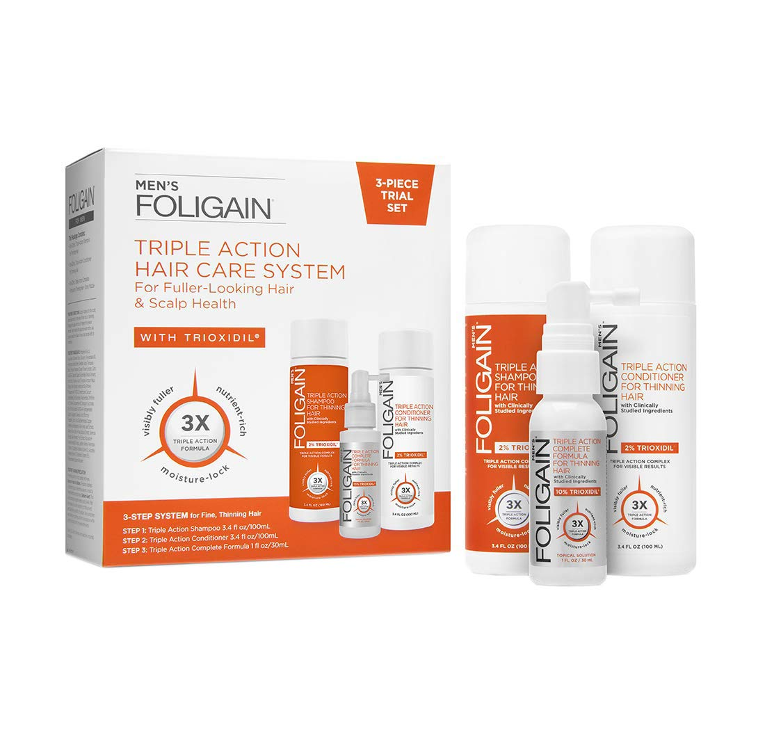 Foligain Triple Action Hair Care System For Men | 3-Piece Travel Set | Men's Hair Care
