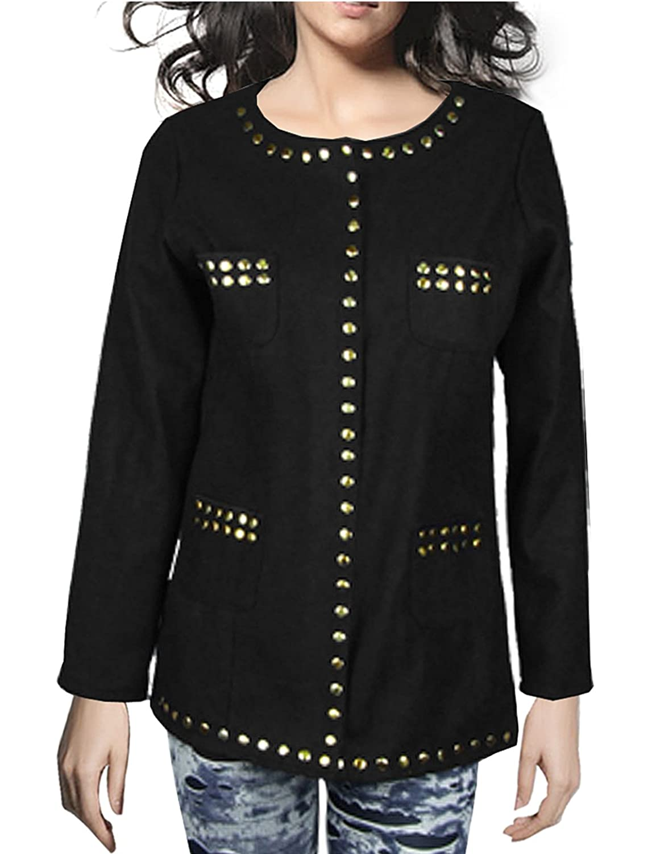 Lady Black Gold Tone Metal Studed Cardigan Coat Size XS
