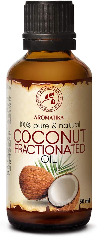 Aceite de Coco 50ml - Fraccionado - Cocos Nucifera Oil - Germany - 100% Puro y Natural - Grandes Beneficios para la Cabello - Piel - Excelente con Aceite Esencial - Aromaterapia - SPA - Baño - Masaje