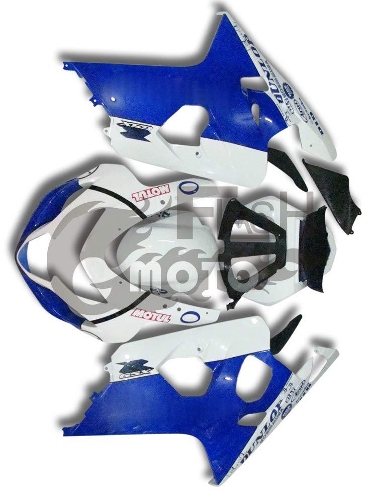FlashMoto suzuki 鈴木 スズキ GSX-R600 GSX-R750 K4 2004 2005用フェアリング 塗装済 オートバイ用射出成型ABS樹脂ボディワークのフェアリングキットセット (ホワイト,ブルー)   B07MNFVHL8