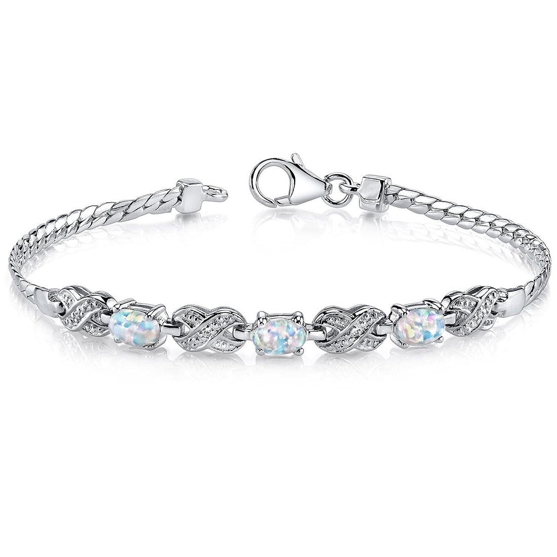 Created Opal Bracelet Sterling Silver Oval Cabochon 1.25 Carats