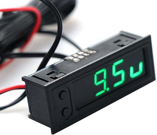 22 x 58 mm Blu Cuigu 3/in 1/Multifunzione ad Alta precisione Orologio all Interno e all Esterno della Temperatura della Auto Batteria Monitor di Tensione voltmetro del Pannello Metro 12/V
