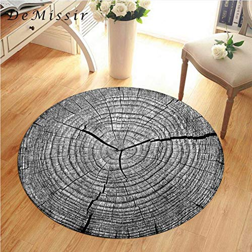 - GSYDDTG 3D Dry Wood Grain Ring Sectiom Round Large Carpet for Living Room Anti-Slip Chair Table Rug tapetes para casa sala