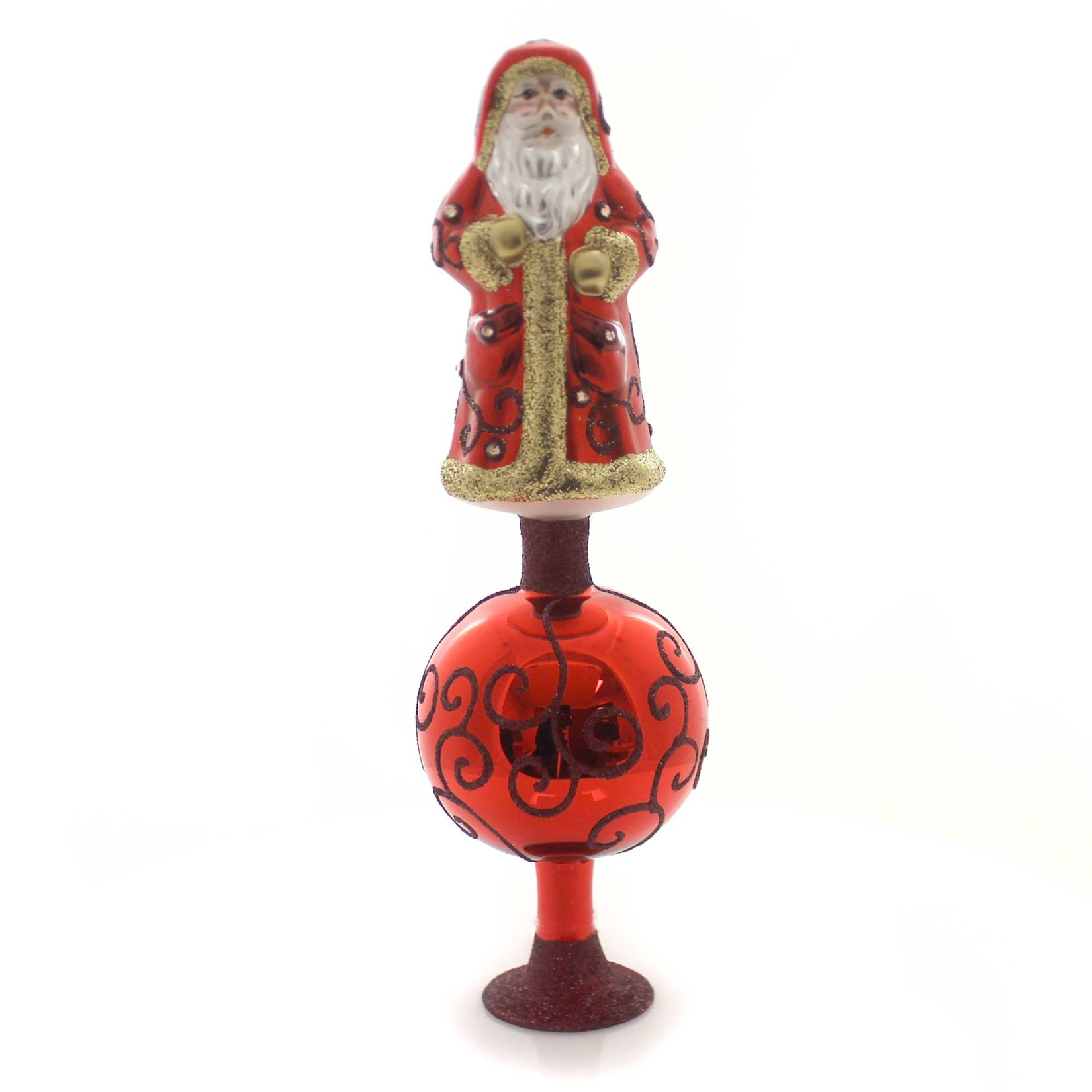 Inge-Glas Exquisite Nikolaus Tree Topper Glass Free Standing Finial 10015S017