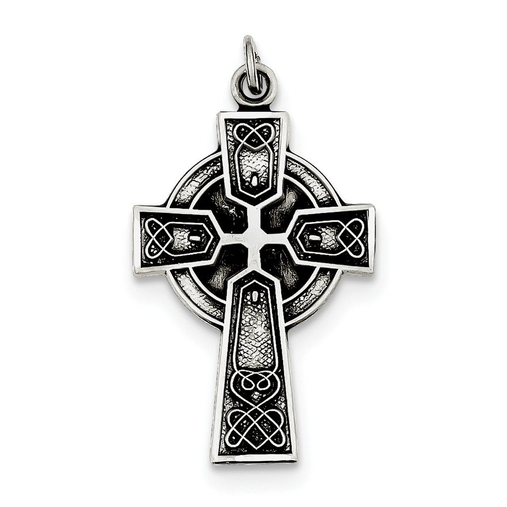 Top 10 Jewelry Gift Sterling Silver Antiqued Satin Irish Cross Pendant