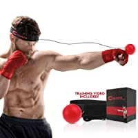 Boxeo Reflex Ball + Premium mano Wraps gran para la formación a mejorar las reacciones y velocidad, boxeo ejercicio para boxeo, artes marciales mixtas y otros deportes de lucha.