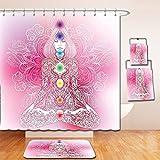 Nalahome Bath Suit: Showercurtain Bathrug Bathtowel Handtowel Chakra Decor Mystic Female Character with Lace Embellished Lines Solar Balance Bohemian Soft Pink