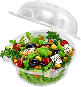 50 Plastic Single Individual Cupcake Containers, Clear Dome Box for Sandwich Hamburgers Fruit Salad Party Favor Cake Holder Muffin Case Cups Pod,(Pack of 50)