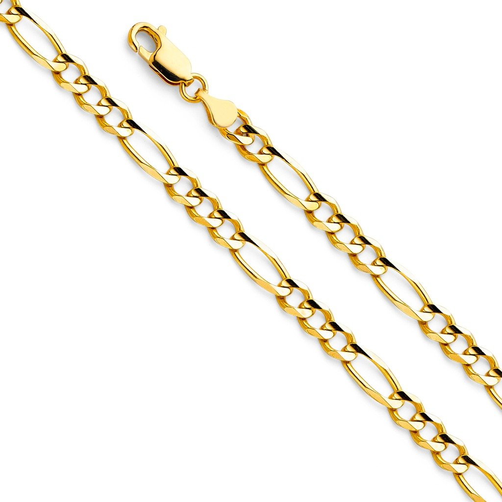 14k Yellow Gold Solid Men's 4.5mm Figaro 3+1 Concave Chain Necklace with Lobster Claw Clasp - 20''