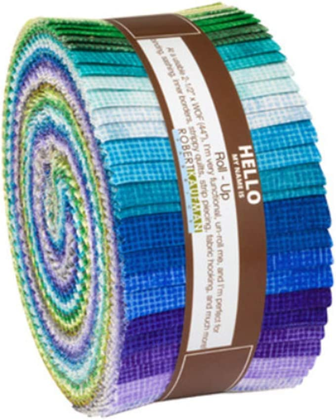 Chalk and Charcoal Cool Roll Up 2.5-inch Quilting Strips Jelly Roll Fabric Robert Kaufman Fabrics RU-875-40