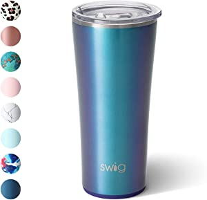 Swig Life 22oz Triple Insulated Stainless Steel Skinny Tumbler with Lid, Dishwasher Safe, Double Wall, and Vacuum Sealed Travel Coffee Tumbler in our Mermazing Pattern (Multiple Patterns Available)