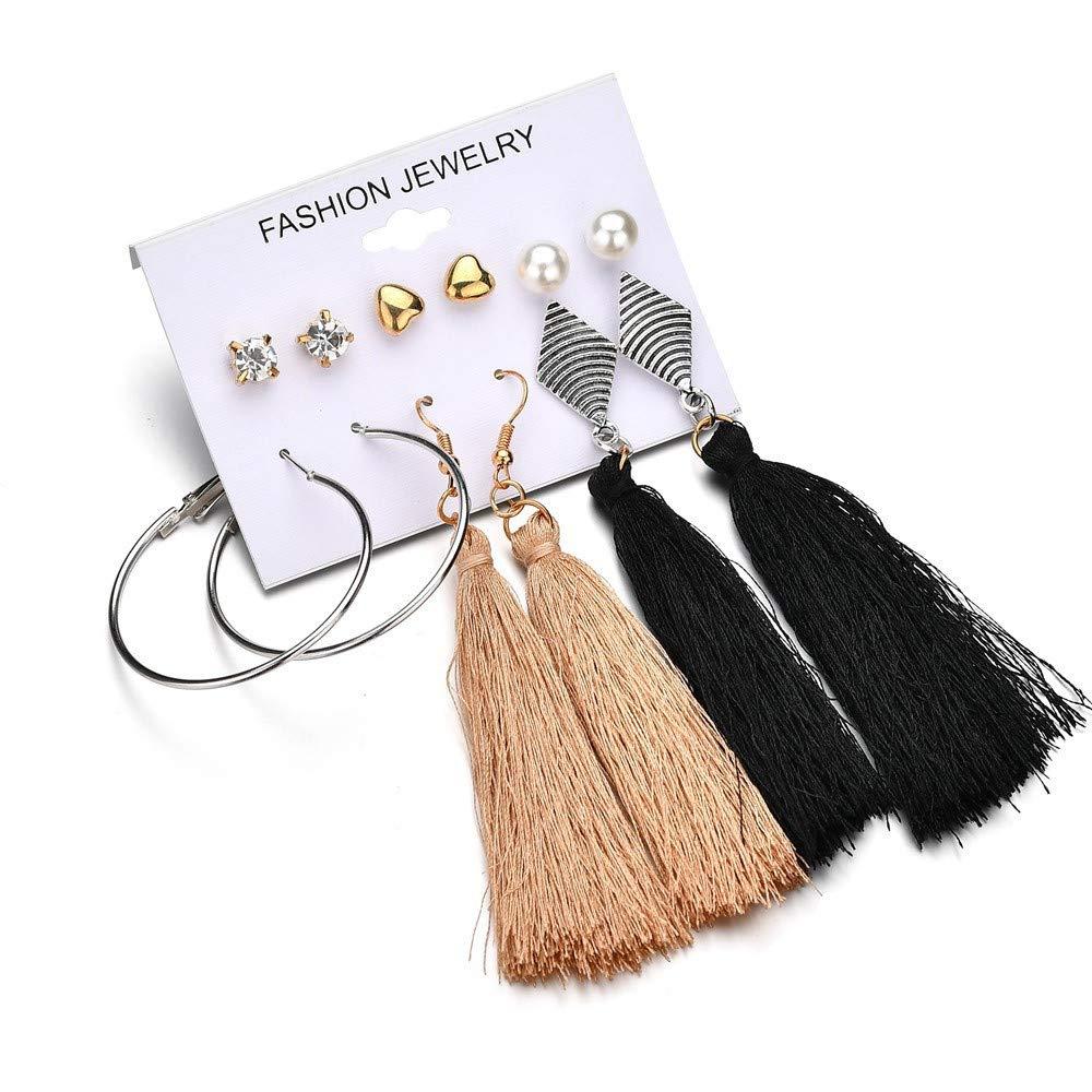 Hatoys Women Dangle Earrings Set Combination Of 6 Sets Of Fashion simple Earrings (Multicolor)