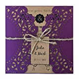 Purple Rustic Wedding Invitation, Cyndie Wedding Invitation Kit - Pack of 50 (Customize Invitation)