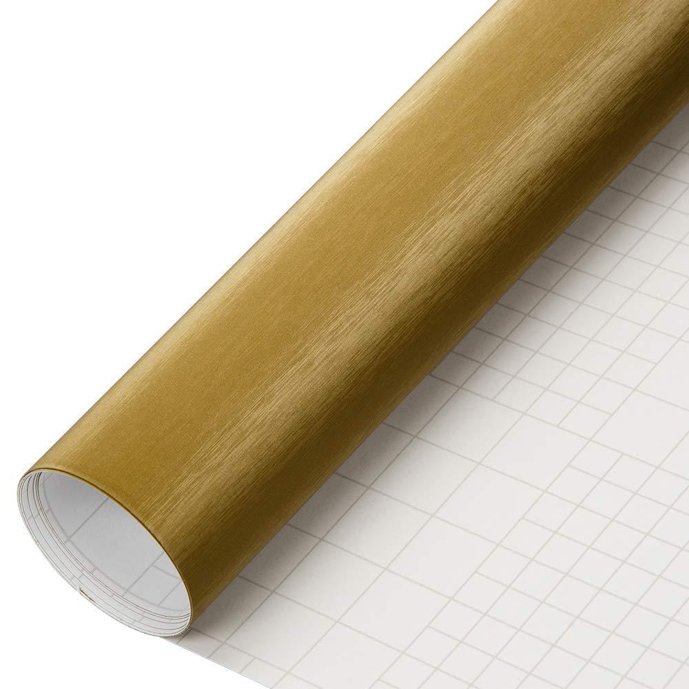 HOHO Brushed Aluminum Metal Steel Vinyl Wrap Sticker Film Bubble Free DIY,Gold,152cmx50cm