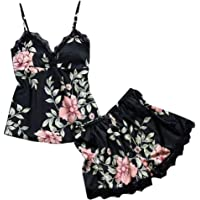 Challyhope Women Sexy Cute Flroal ling Sleepwear Satin Pajamas Set Lace Camisole Shorts Nightwear