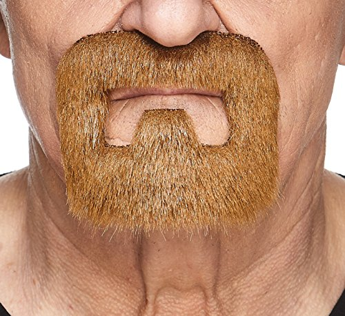 Mustaches Self Adhesive, Novelty, Inmate Fake Beard, False Facial Hair, Costume Accessory for Adults, Ginger -
