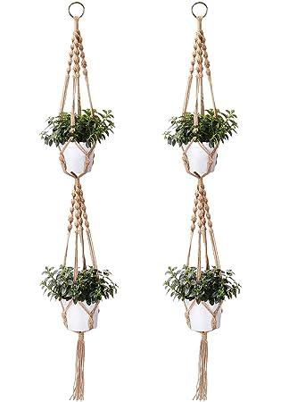 Macrame Plant Hangers Peyou 2pcs 4 Legs 50 Double Macrame Organic Jute Rope Hanger Indoor Outdoor Hanging Planter Basket Plant Holder For Round