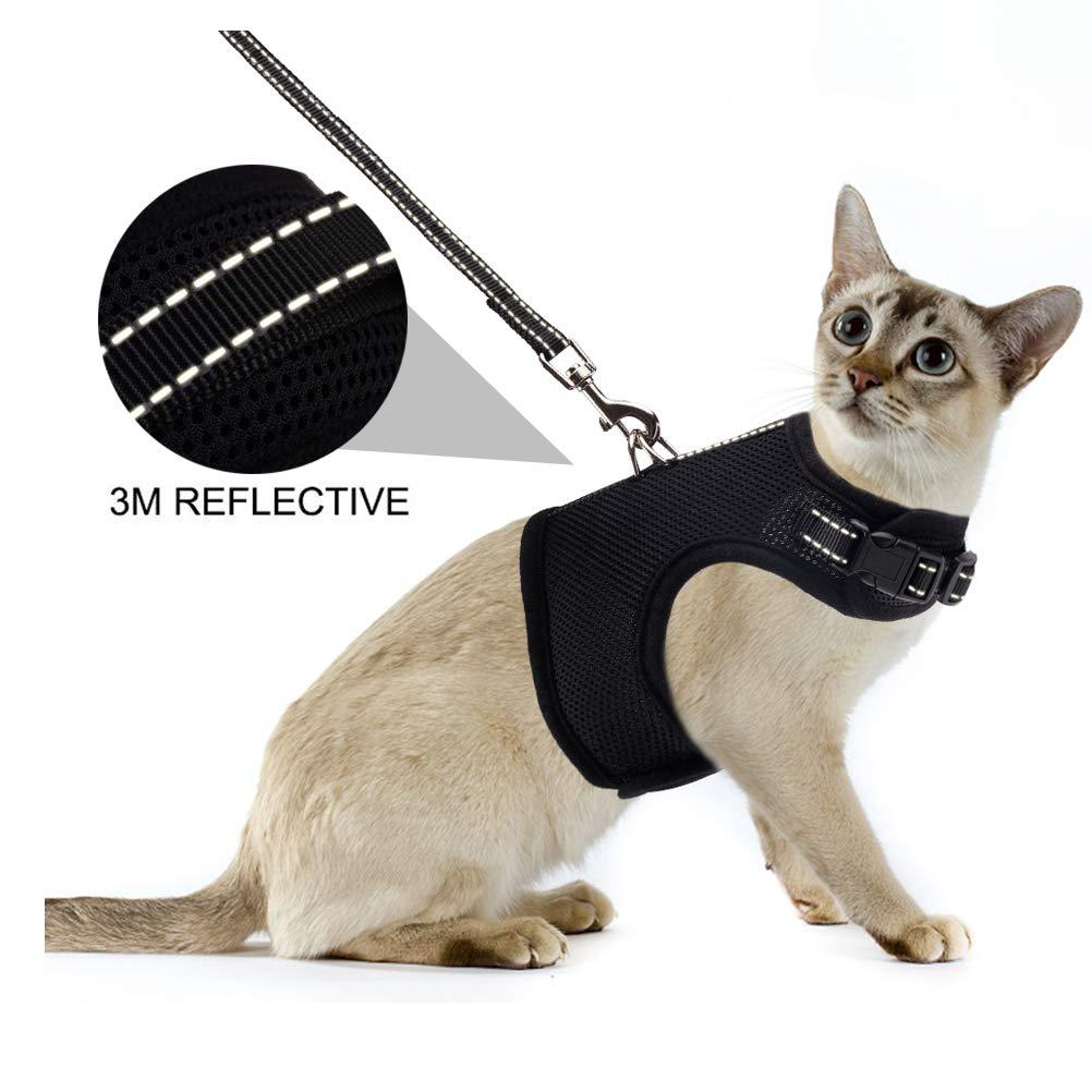 PUPTECK Cat Leash Reflective Escape Proof Harness – Black Soft Mesh Adjustable – Best for Walking