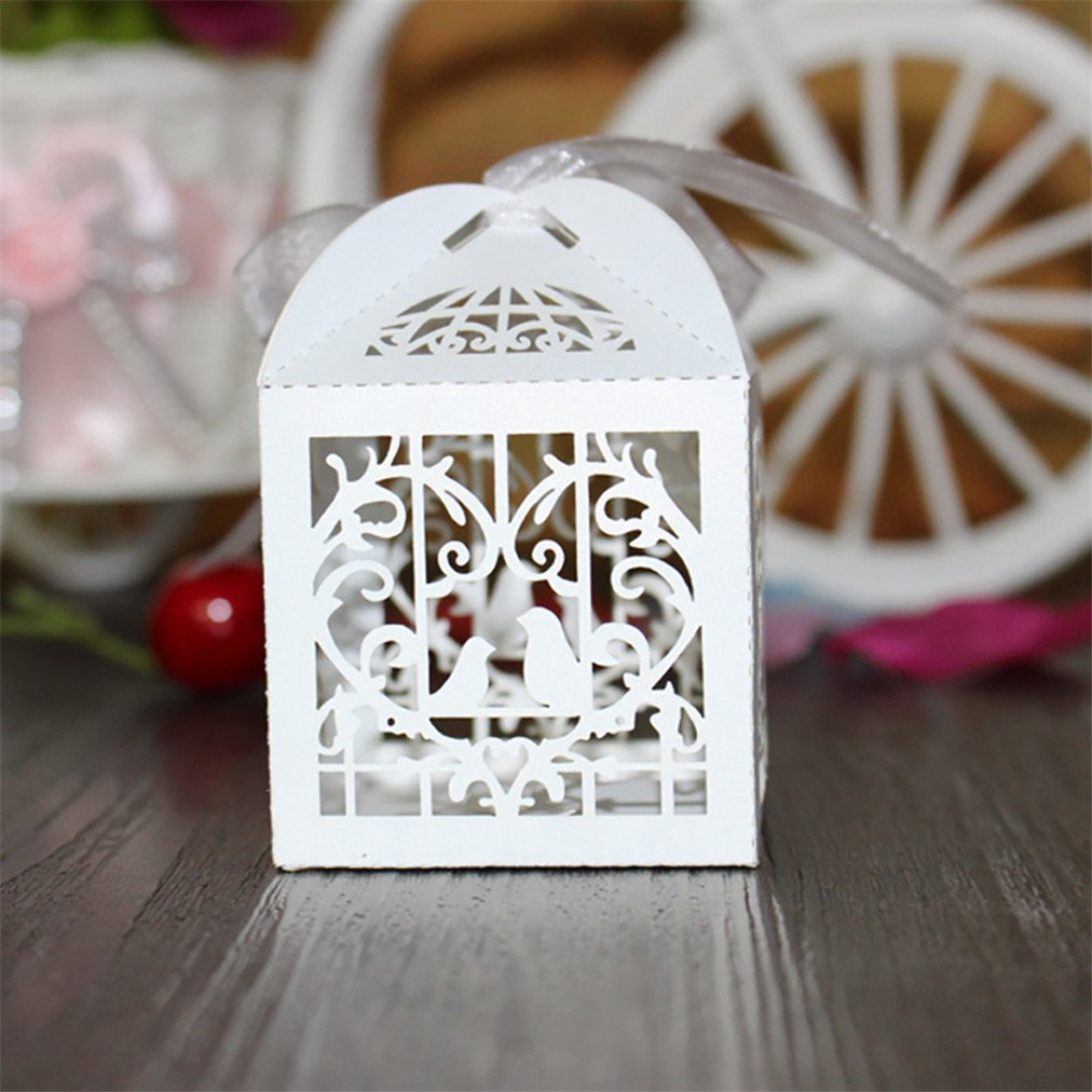 Amazon.com: Amytalk 50 Pcs Laser Cut Wedding Favors Candy Boxes ...