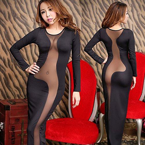 Spritech(TM) Women's Sexy Mesh See Through Deep V Neck Long Sleeve Clubwear Night Evening Dress Black (Clubwear Gown)