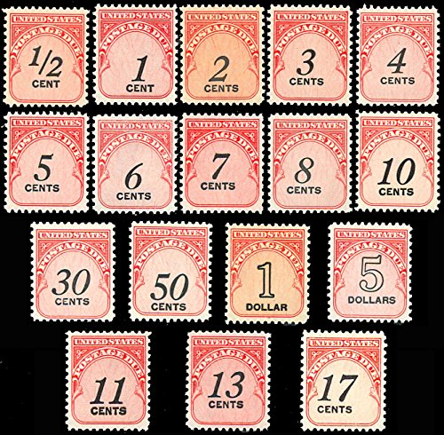 (Complete Set of Postage Due Stamps Mint Never Hinged Scott J88-J104 By USPS)