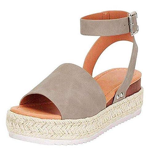 Sandalen Damen Plateau Espadrille Sommer Keilabsatz Faux Leder 5 cm Absatz Sandaletten Peep Toe Flach Sommerschuhe Bequeme 35 43