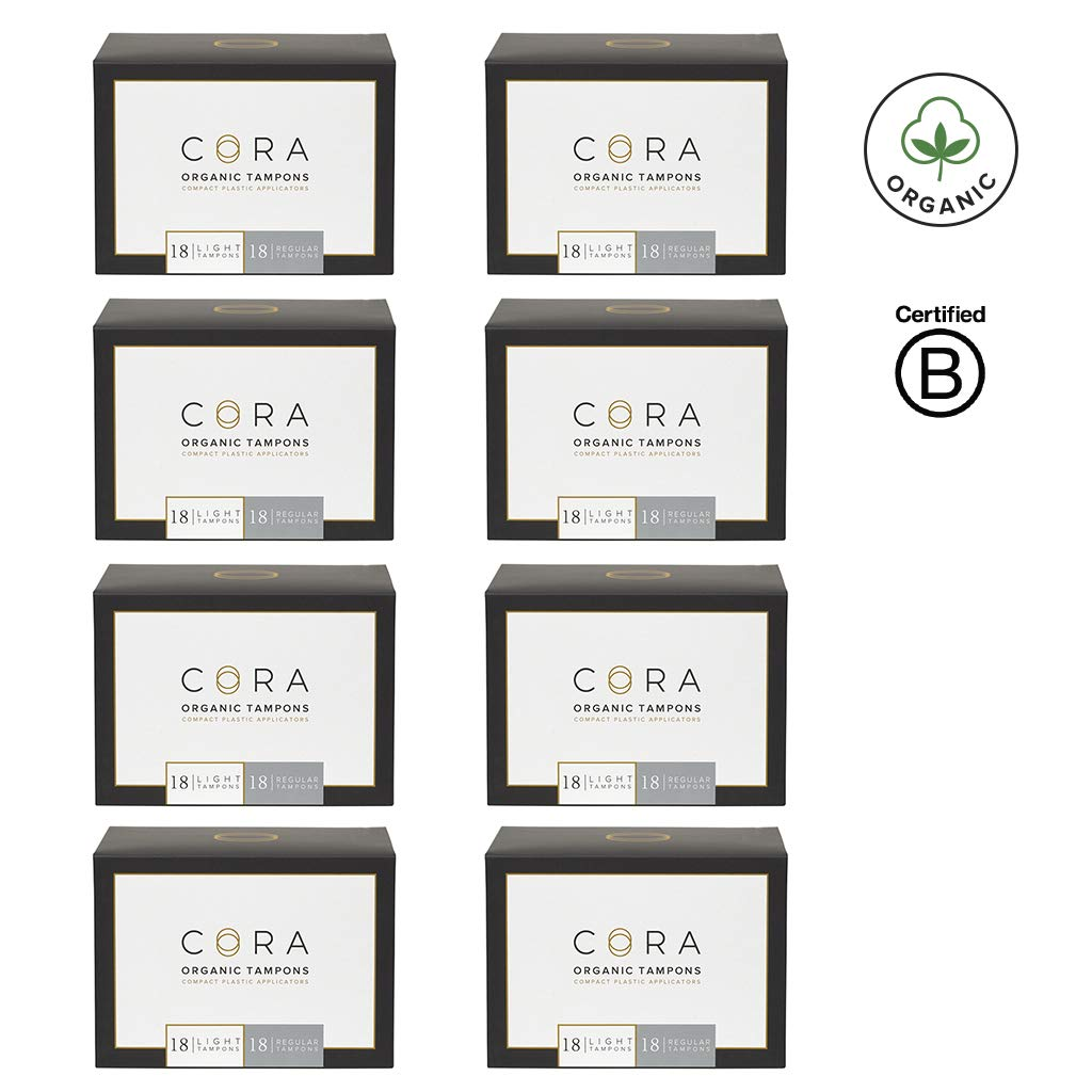 Cora Organic Cotton Tampons with Compact Applicator; Variety Pack - Light/Regular (288 Count)