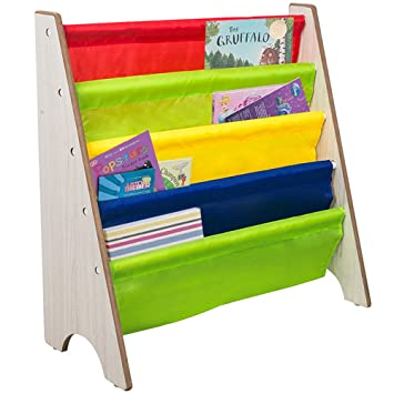 TOP MAX Childrens Bookcase Kids Sling Bookshelf Wood Book Display Storage Rack Shelves Soft Nylon