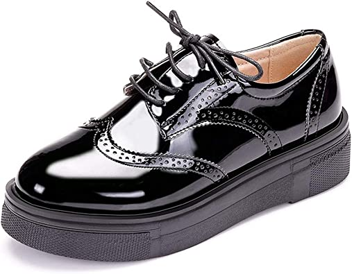 Patent Leather Penny Loafers Lace Up