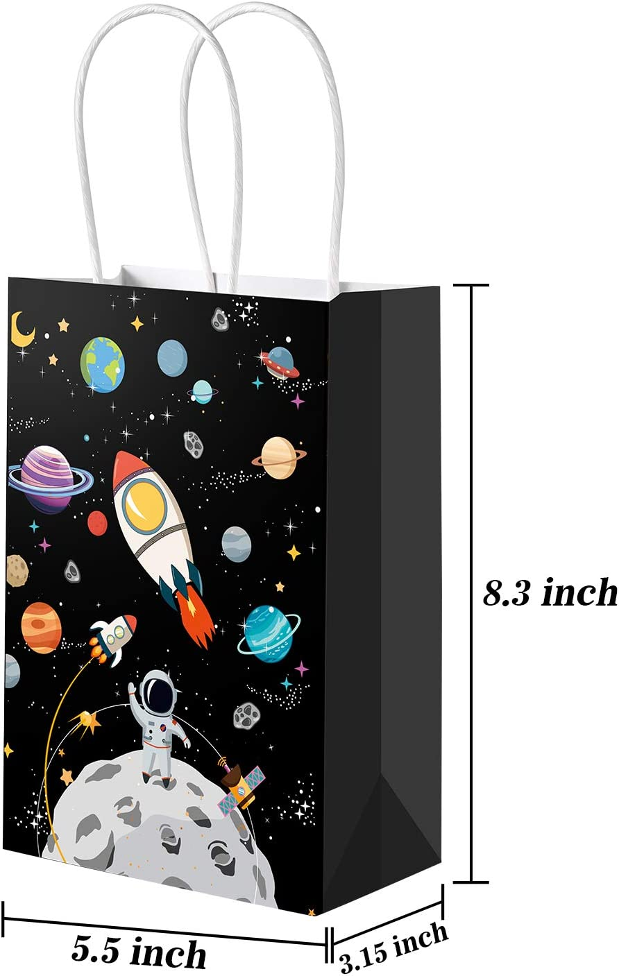 24 Packs Outer Space Gift Bags Kids Treat Bags with Handles Planet Galaxy Party Favor Goodie Bags Paper Treat Bags for Kids Birthday Space Theme Party Supplies