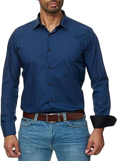 Camisa Hombre, Manga Larga, Slim Fit, Camisa Elástica Casual/Formal Camisa de Planchado sin Arrugas Manga Larga clásico Elástica Casual Formal Negocio para Hombre: Amazon.es: Ropa y accesorios