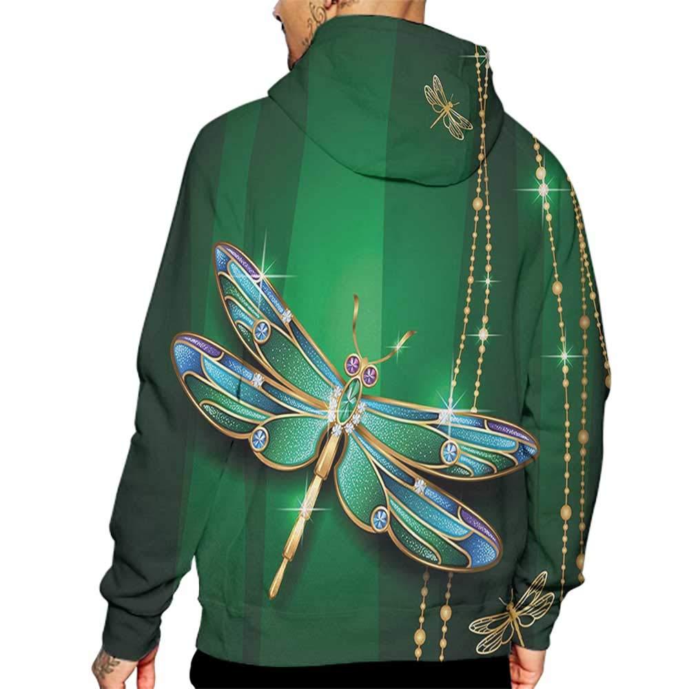 Unisex 3D Novelty Hoodies Dragonfly,Elegance Vivid Figures in Gemstone Crystal Diamond Featured Artsy Effects,Gold Hunter Green Sweatshirts for Women Plus Size