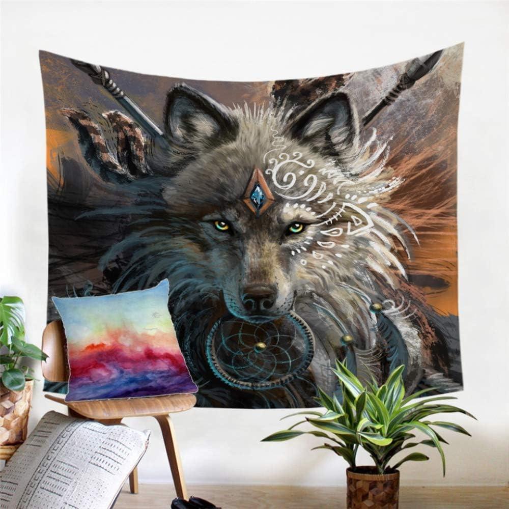 ganjue Loup Guerrier Am/érindien Tenture Murale Feuilles danimal Tapisserie Loup Indien D/écor /À La Maison Tapis De Plage Tapisserie-150X130Cm