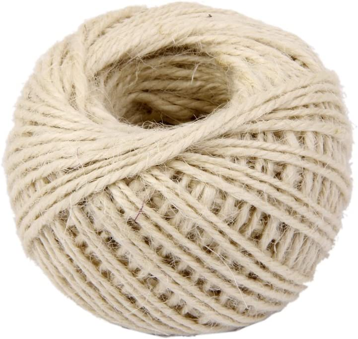 Blanc Dosige Ruban en Jute Corde de Chanvre Ligne D/étiquette Ficelles de Jardinage DIY Corde pour Cadeau de No/ël