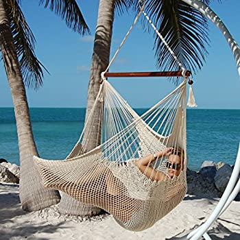 large caribbean hammock chair   48 inch   polyester   hanging chair   cream amazon     caribbean jumbo hammock chair by beachside hammocks      rh   amazon