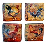Certified International Rustic Rooster Canape Plate, 5.75-Inch, Multicolor, Set of 4