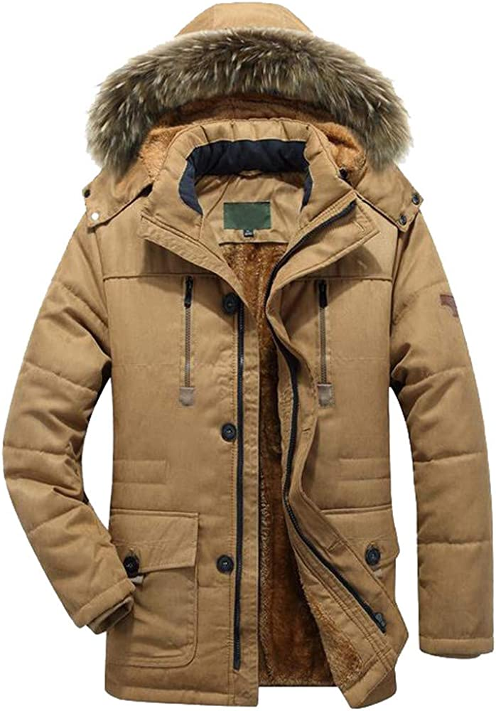 F/_Gotal Winter Coats Jackets for Men Warm Parka Faux Fur Lined with Detachable Hood Outwear Jacket and Coat Warm Winter