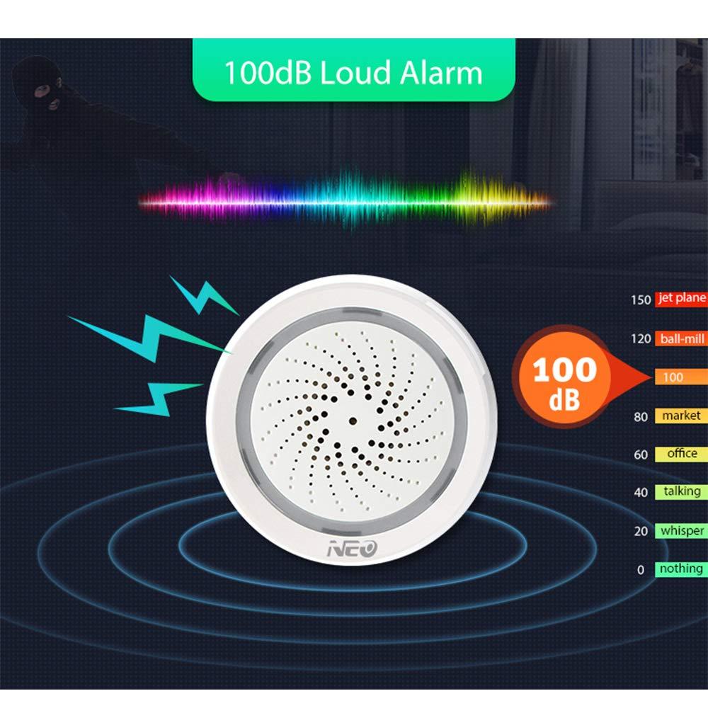 Neo Sensor de Alarma WiFi Tuya Smart Life App Compatible con Alexa Google Home Voice Control