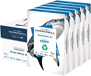 product image for Hammermill Printer Paper, Great White 30% Recycled Paper, 11 x 17-5 Ream (2,500 Sheets) - 92 Bright, Made in the USA