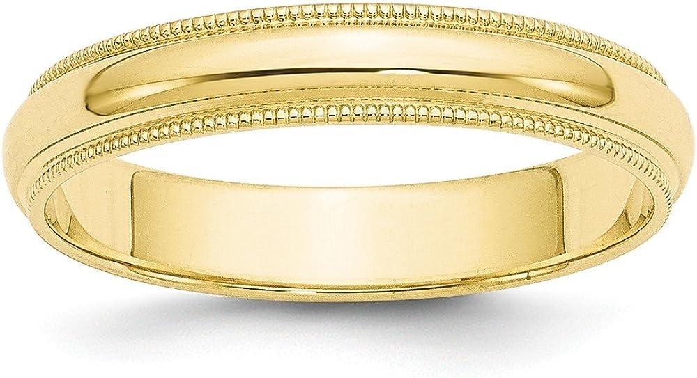 10K Yellow Gold Wedding Band Ring Milgrain Standard Half Round Solid Polished 4 mm 4mm Milgrain Half Round B