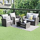 5 piece Outdoor Patio Furniture Sets,Wisteria Lane Wicker Ratten Sectional Sofa With Seat Cushions,Gray