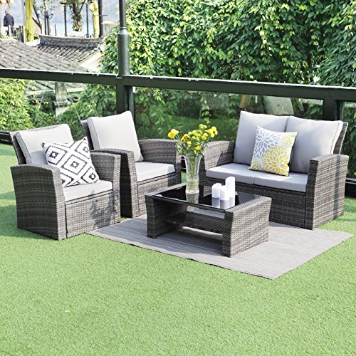 5 piece Outdoor Patio Furniture Sets,Wisteria Lane Wicker Ratten Sectional Sofa With Seat Cushions,Gray (Sale Wicker Furniture)