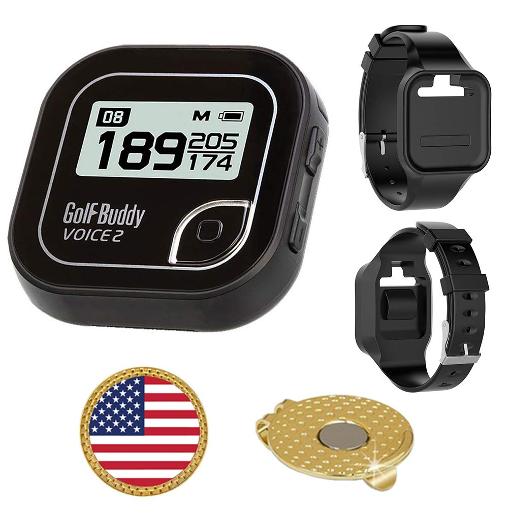 Golf Buddy Voice 2 Golf GPS/Rangefinder Bundle with Wrist Band, Ball Marker and Magnetic Hat Clip (USA Flag) by AMBA7