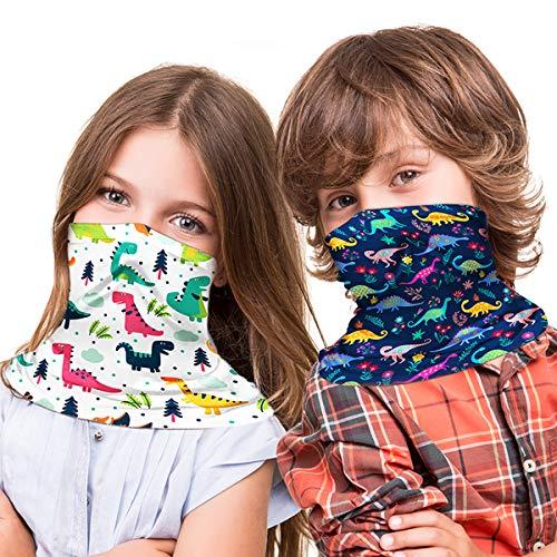 TIANSHI 2Pcs Neck Gaiter Kids Face Mask, Uv Protection Face Cover Bandanas Scarf, Face Bandana for Kids (Dinosaur #1)